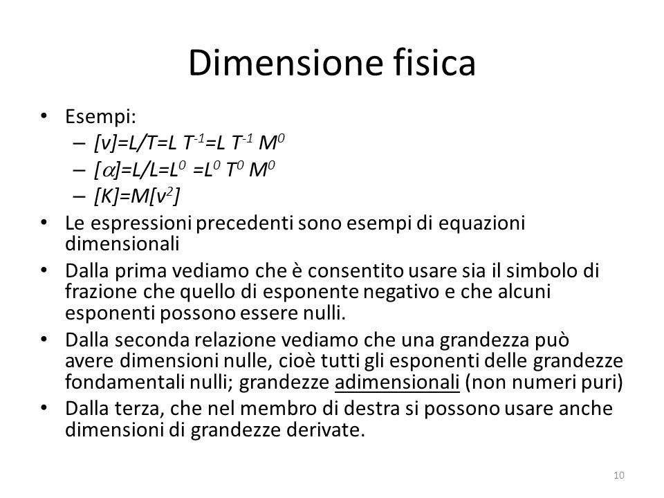 Dimensione fisica Esempi: [v]=L/T=L T-1=L T-1 M0 [a]=L/L=L0 =L0 T0 M0